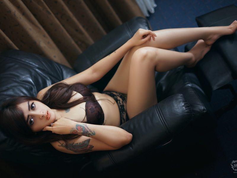 Hot model on bikini lingerie around places