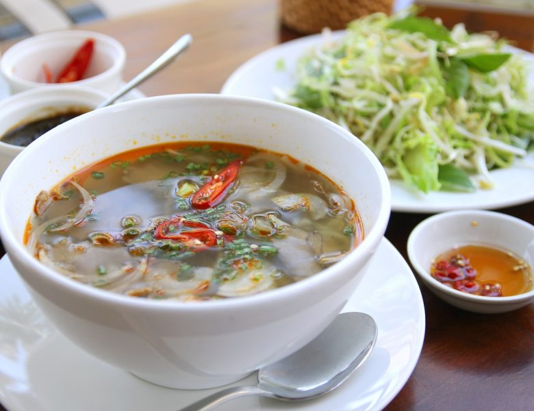 Chinese cuisine hot vegetable soup with cherry