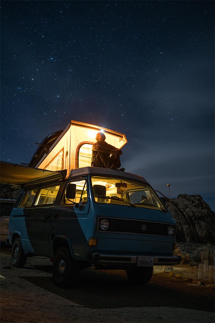 Looking moon and stars at  sky at  night
