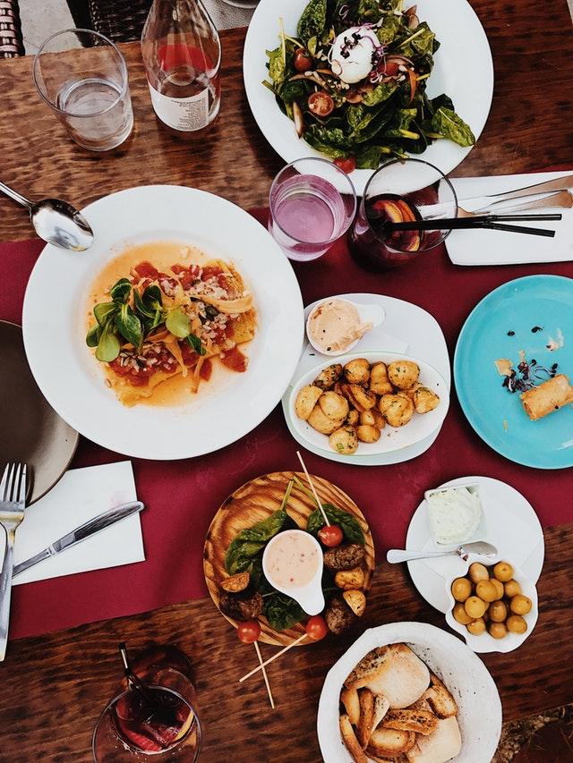 Varieties of  food displayed on table