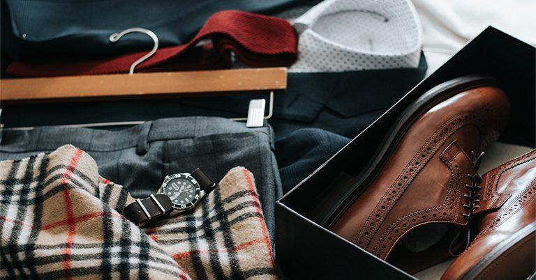 Men's  fashion,  shoes, coat, watch and muffler