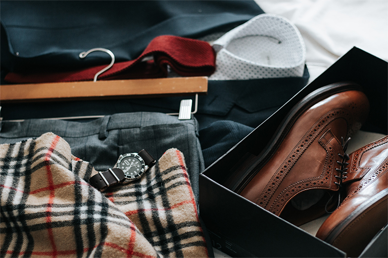 Men's  fashion,  shoes, coat, watch and muffler