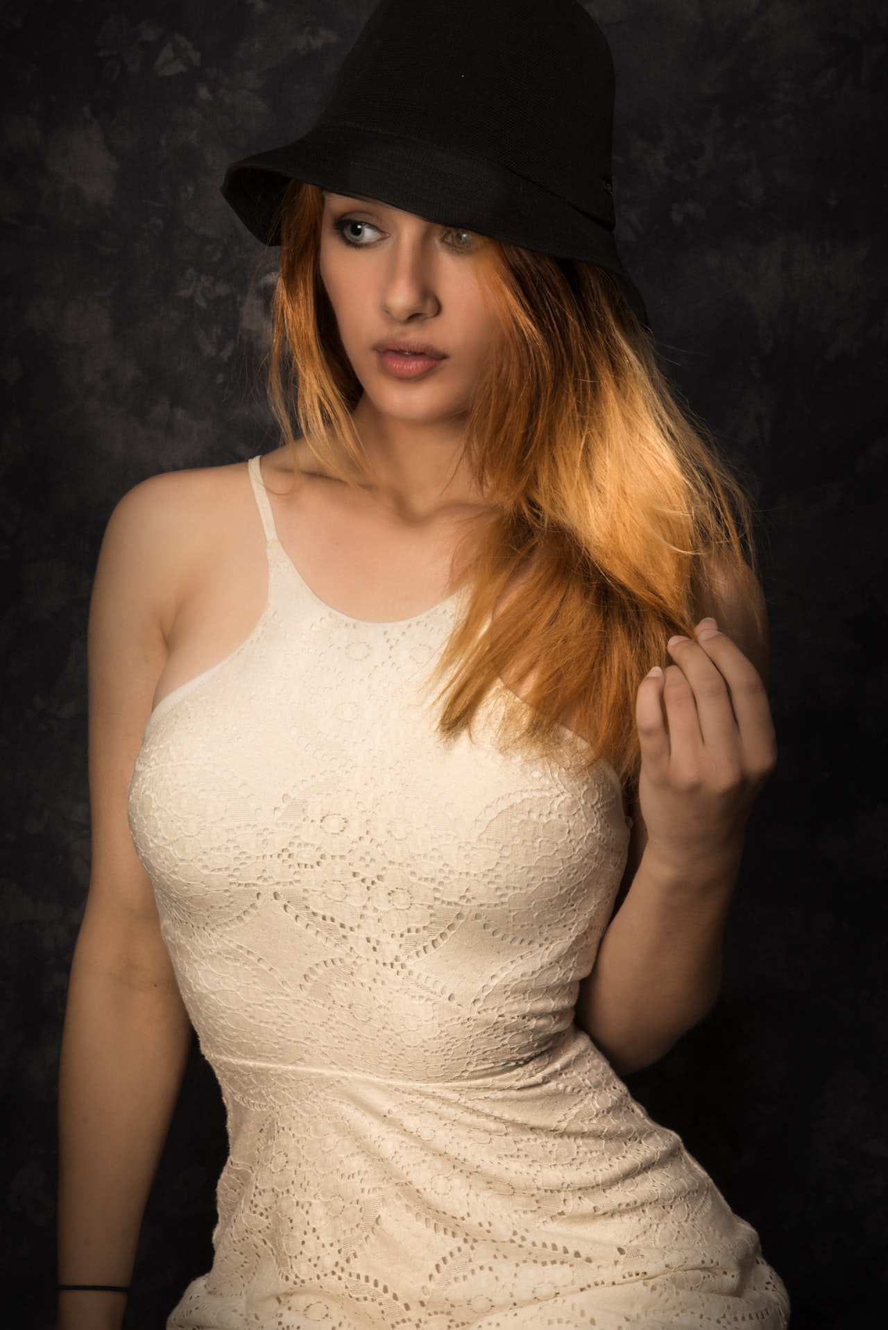 Hot lady with white dress and black hat